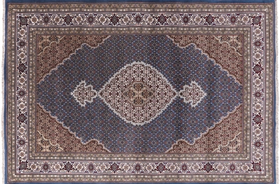 Wool & Silk Hand Knotted Persian Tabriz Rug