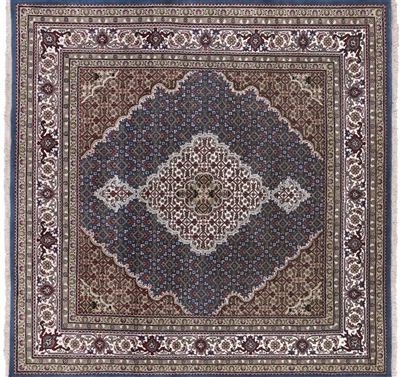 Square Wool & Silk Persian Tabriz Handmade Area Rug