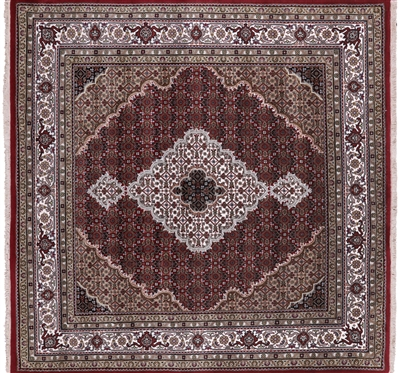 Square Persian Tabriz Hand Knotted Wool & Silk Rug