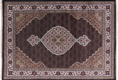 Hand Knotted Persian Tabriz Wool & Silk Area Rug
