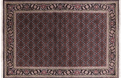 Black Persian Tabriz Wool & Silk Rug