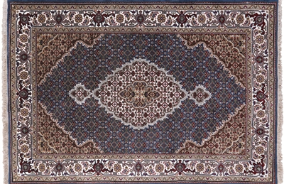 Persian Tabriz Wool & Silk Hand Knotted Rug