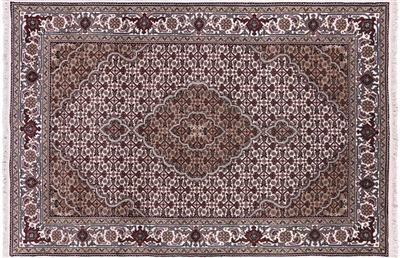 Wool & Silk Hand Knotted Persian Tabriz Area Rug