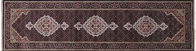 Runner Black Persian Tabriz Wool & Silk Rug