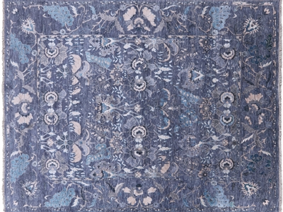 Broken Design Persian Wool & Silk Hand Knotted Area Rug