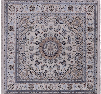 Square Persian Nain Hand Knotted Wool & Silk Area Rug
