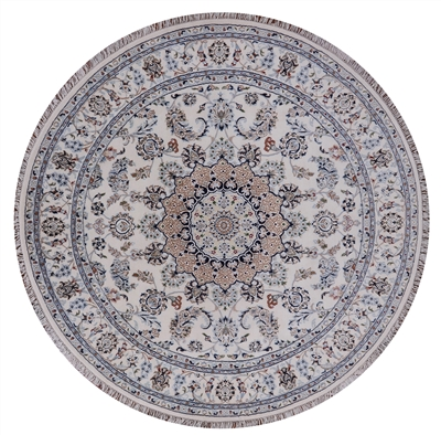 Round Hand Knotted Wool & Silk Persian Nain Area Rug