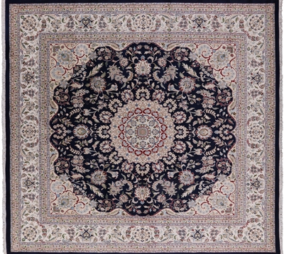 Square Blue Persian Nain Hand Knotted Wool & Silk Rug