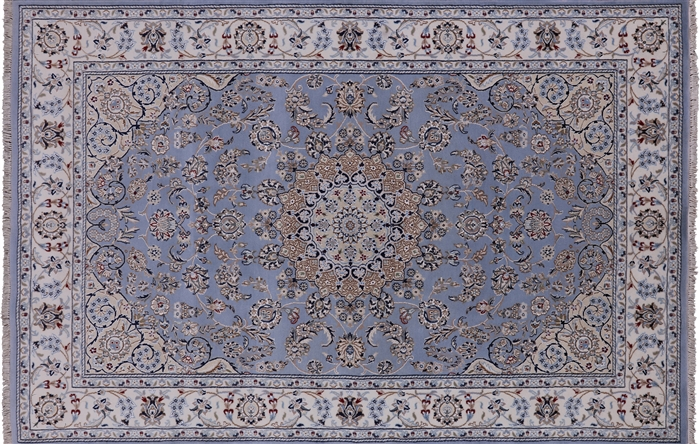 Blue Persian Nain Hand Knotted Wool & Silk Area Rug