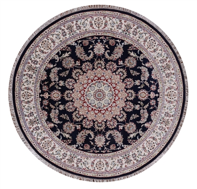 Round Persian Nain Wool & Silk Area Rug