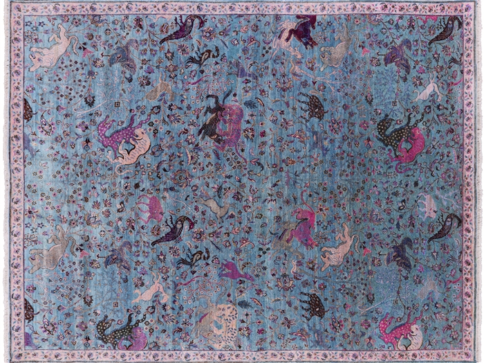 Persian Contemporary Hunting Scene Silk Hand Knotted Rug