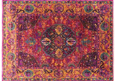 Contemporary Pure Silk Persian Hand Knotted Rug