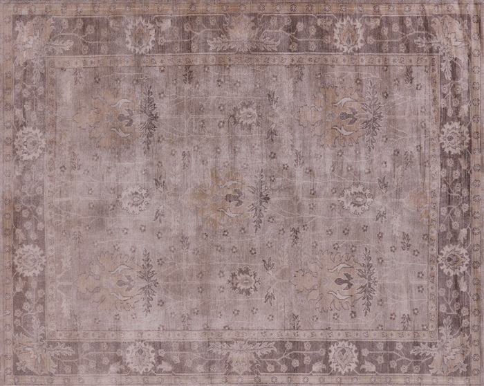 Oushak Hand Knotted Silk Area Rug