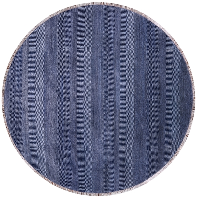 Round Gabbeh Savannah Grass Wool & Silk Area Rug