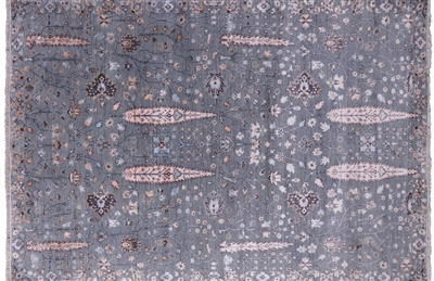 Wool & Silk Cypress Tree Ziegler Hand Knotted Area Rug