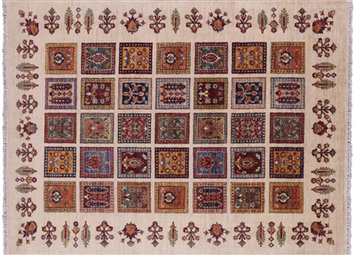 Hand Knotted Wool Garden Gabbeh Area Rug