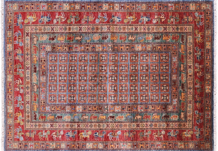 Antiqued Pazyryk Historical Design Handmade Wool Area Rug