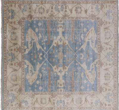 Square Hand Knotted Oushak Area Rug