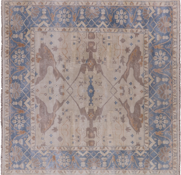 Square Oushak Hand Knotted Oriental Wool Area Rug