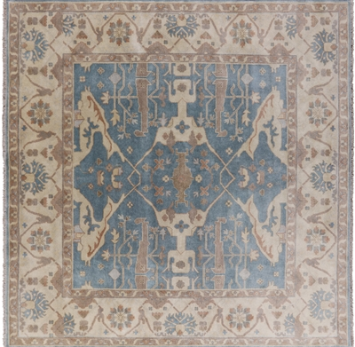 Square Traditional Oushak Wool Area Rug