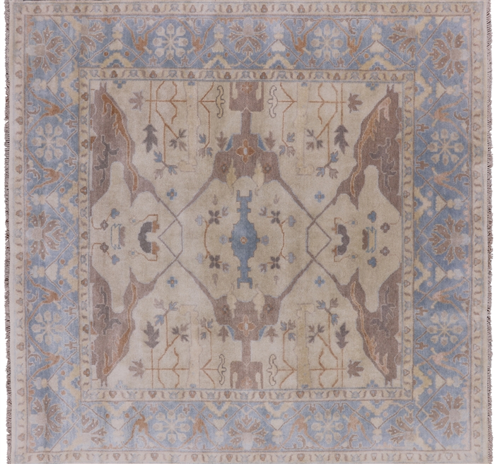 Square Traditional Oushak Hand Knotted Wool Area Rug