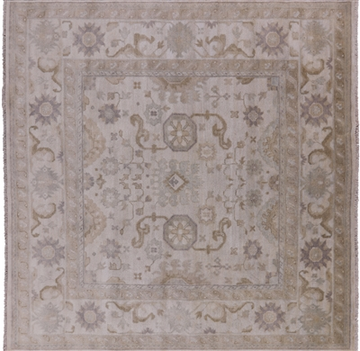 Square Oushak Hand Knotted Wool Area Rug