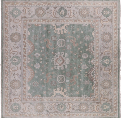 Square Oushak Wool Oriental Hand Knotted Rug