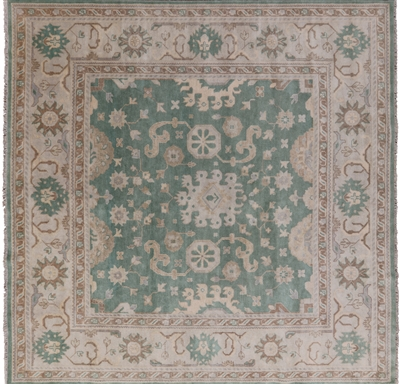 Square Oriental Oushak Hand Knotted Rug