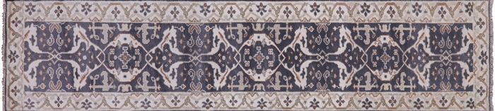 Oushak Hand Knotted Wool Oriental Runner Rug