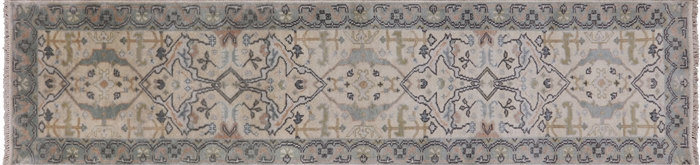 Traditional Hand Knotted Oushak Runner Rug