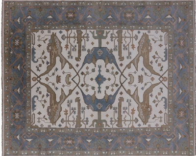 Traditional Fish Design Oushak Wool Area Rug