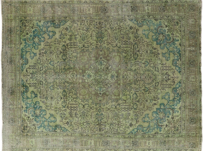 Persian Tabriz Overdyed Hand Knotted Area Rug