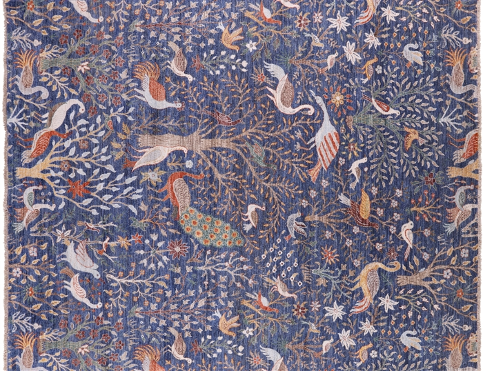Exotic Birds Hand Knotted Wool Fine Serapi Area Rug