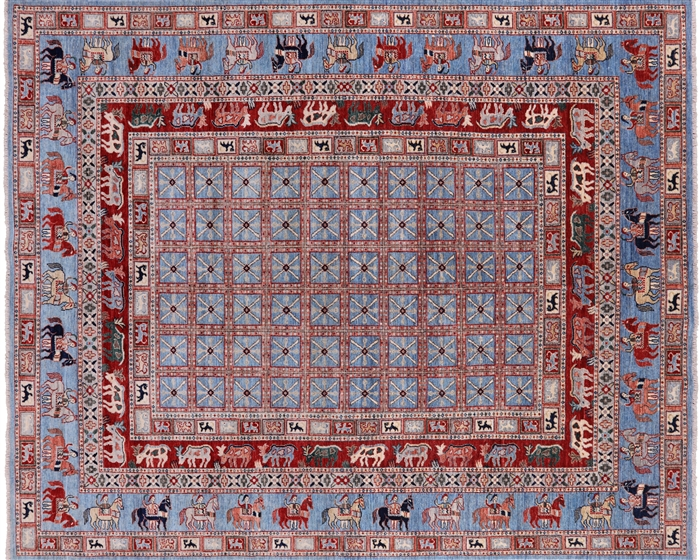 Hand Knotted Wool Antiqued Pazyryk Historical Design Area Rug