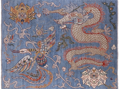 Oriental Dragon And Phoenix Hand Knotted Wool Modern Area Rug