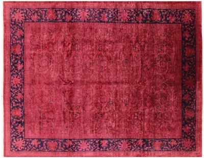 Hand Knotted Full Pile Wool Peshawar Overdyed Area Rug