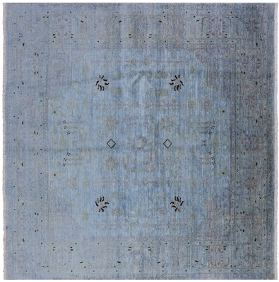 Square Peshawar Hand Knotted Full Pile Wool Overdyed Rug