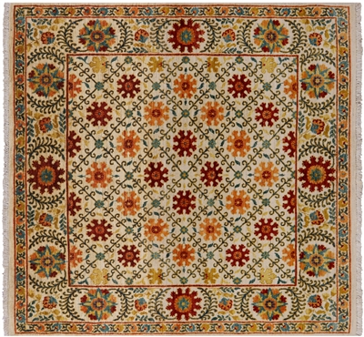 Square William Morris Wool Area Rug