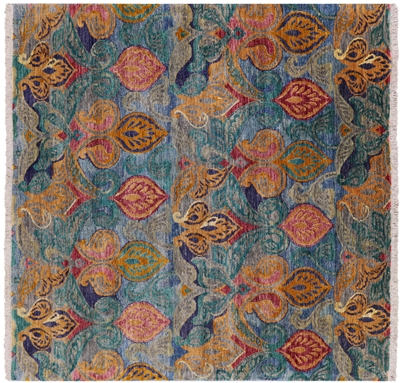 Square William Morris Hand Knotted Rug