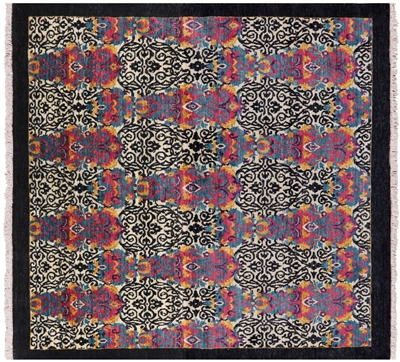 Square William Morris Handmade Wool Area Rug