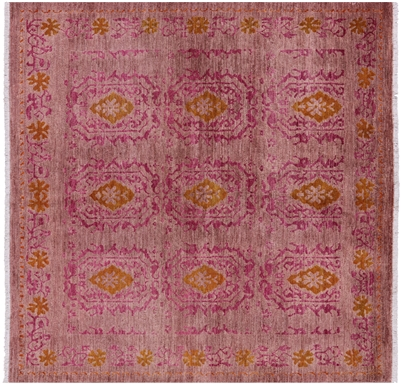 Square Hand Knotted Wool Arts & Crafts Rug
