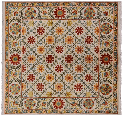 Square Hand Knotted William Morris Area Rug