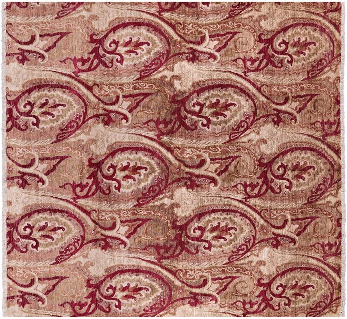 Square Persian Paisley Hand Knotted Rug
