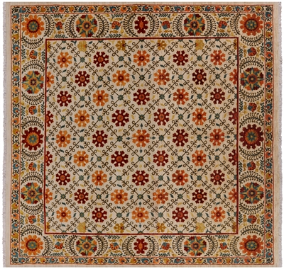 Square William Morris Wool Rug
