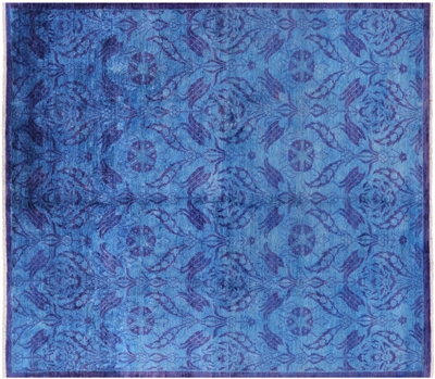 Square Full Pile Wool William Morris Overdyed Hand Knotted Rug