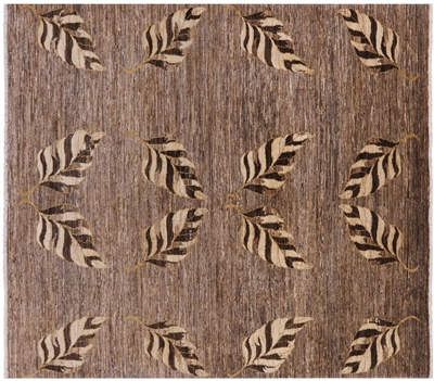 Modern Hand Knotted Wool Natural Rug