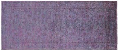 Overdyed Full Pile Hand Knotted Wool Runner Rug