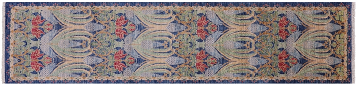 Oriental William Morris Hand Knotted Wool Runner Rug