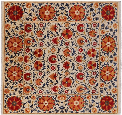 Square William Morris Handmade Area Rug