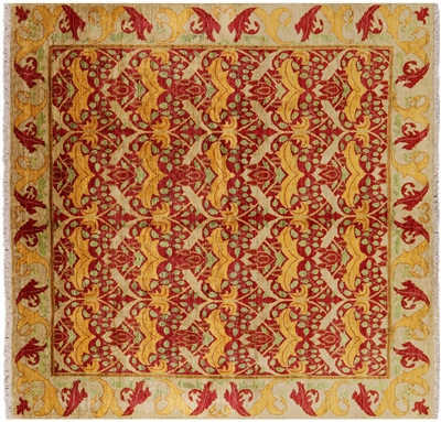 Square William Morris Hand Knotted Area Rug